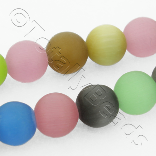 Cats Eye Bead - Round 8mm - Matt Finish Mixed