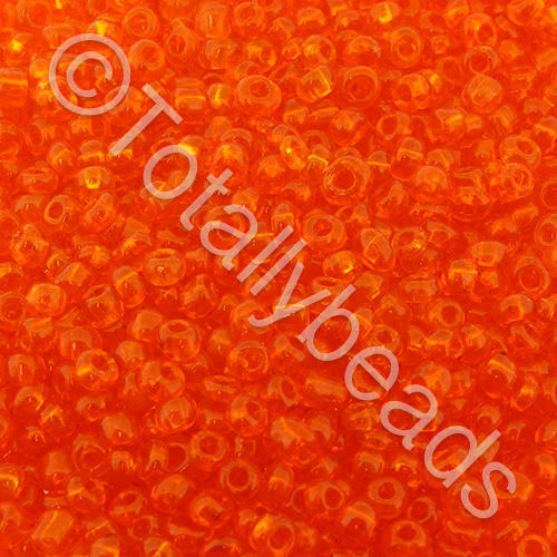 Seed Beads Transparent  Orange - Size 8