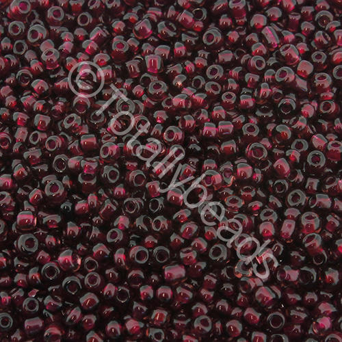 Seed Beads Colour Lined  White  Burgundy - Size 11