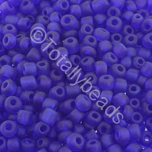 Seed Beads Transparent Frosted  Dark Blue - Size 6