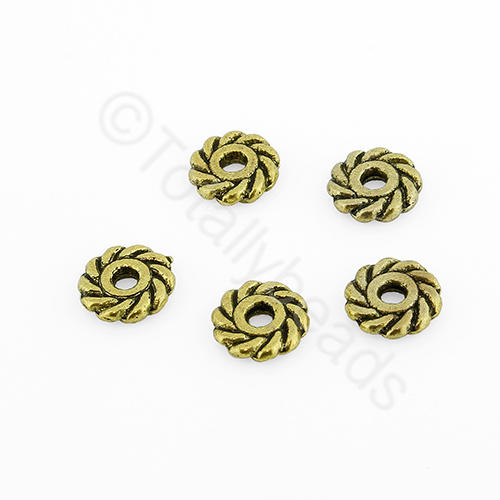 Tibetan Gold Bead - Roped Bead 7mm