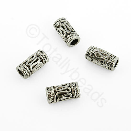 Antique Silver Metal Bead - Tube 10x5mm 20pcs - A0675
