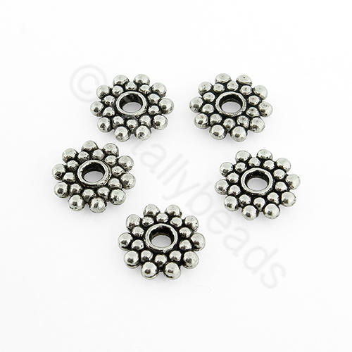 Antique Silver Metal Bead - Spacer Flower 9mm 30pcs - A0524