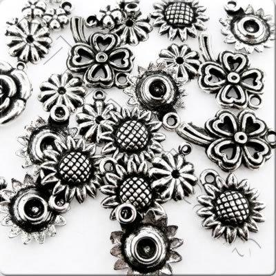 Acrylic Charms - Antique Silver - Flowers 2