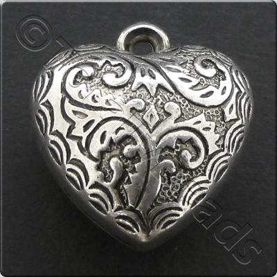 Metalised Antique Silver Heart 20x22x12mm