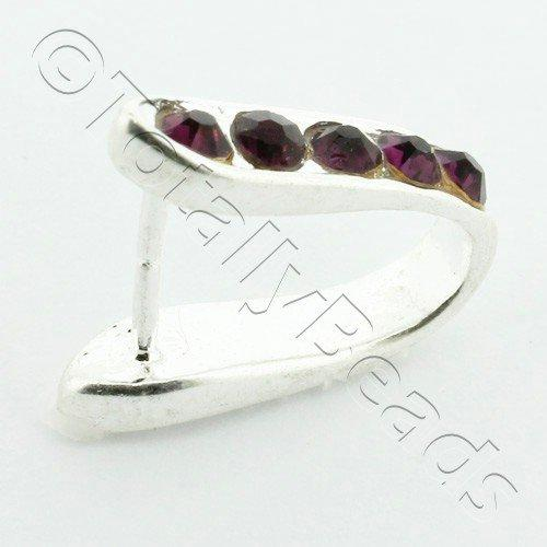 Purple Diamante Silver Bail - 14 x 14mm
