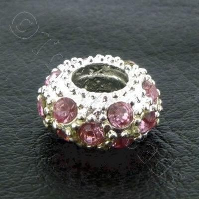 Diamante Large Hole Rondelle Spacer - 11x6mm - Pink