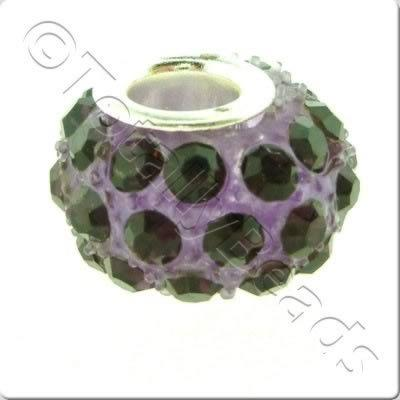 Diamante Large Hole Bead - Lilac