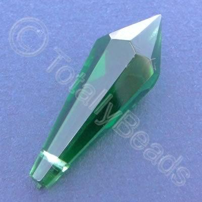 Glass Pendant Pointed Drop Green - 37mm