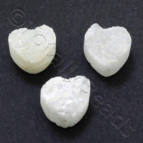 Druzy Bead Heart 12mm - White