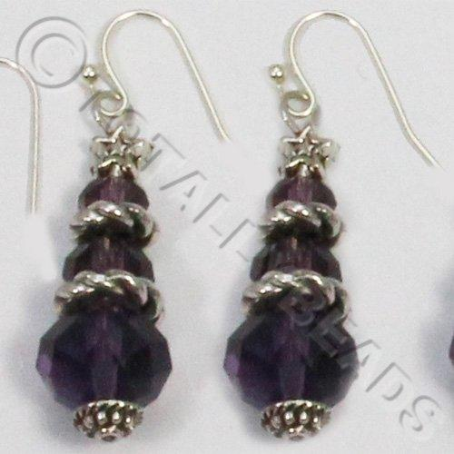 Christmas Tree Earrings - Purple