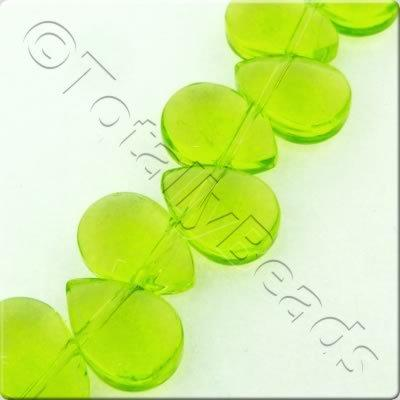 Glass Top Drilled Drop - 8x11mm - Green - 45pcs