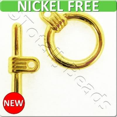 Gold Metal Toggle - Simple Ring 16mm 5sets - A1191-G