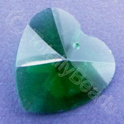 Glass Pendant Heart Green - 28mm