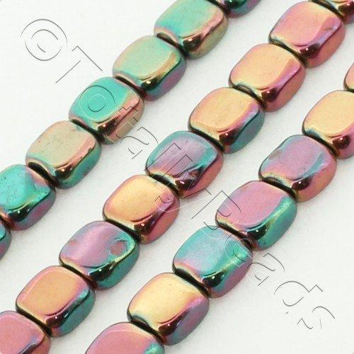 Hematite Flat Square 4mm - Pink Green Plated