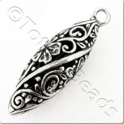 Tibetan Silver Hollow Oval Drop - Flower