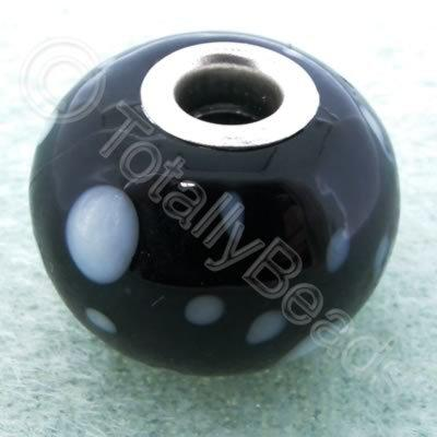 Lampwork Large Hole Bead 20mm - Black with White dots