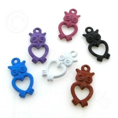 Metal Coloured Metal Charms - 10x20mm - Owl Mixed