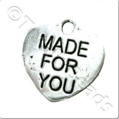 Tibetan Silver Charm - Made For You Heart 15mm