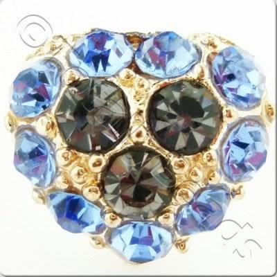 Metal-base Crystal Button - Heart Blue