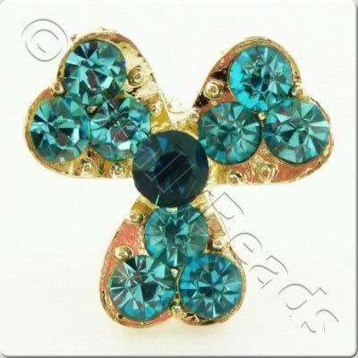 Metal-base Crystal Button - 3 Petal Flower Turquoise