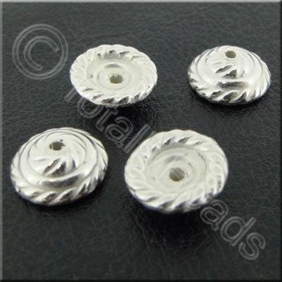 Metalised Acrylic Bead Cap - 11x4mm - Silver 80pcs