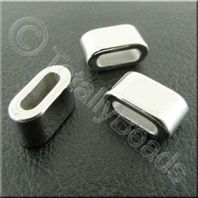 Metalised Acrylic Slider Bead - 13mm - silver 50pcs