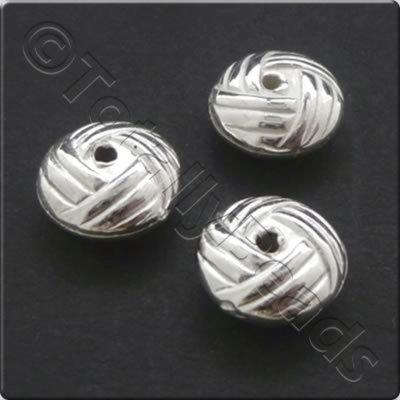 Metalised Acrylic Bead Hatched Rondelle 10x5mm - Silver 60pcs