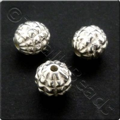 Metalised Acrylic Bead Ridged Round 8mm - Silver 60pcs