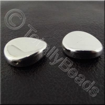 Metalised Acrylic Lentil Bead - 13mm - Silver 40pcs