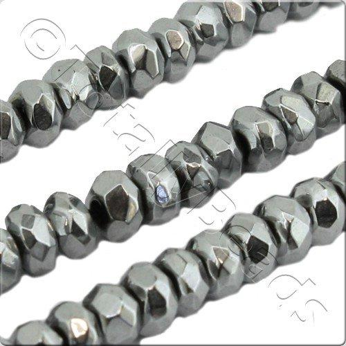 Hematite Facet Rondelle 3x2mm - Silver Plated