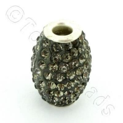 Shamballa Rice Bead - 20x14mm - Black Diamond
