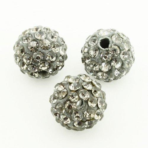 Shamballa Bead 10mm Round - Black Diamond - 2mm