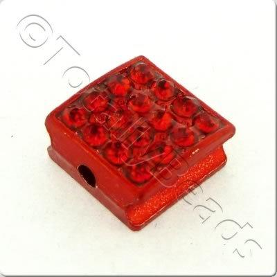Shamballa Flat Square Bead - 10mm - Red