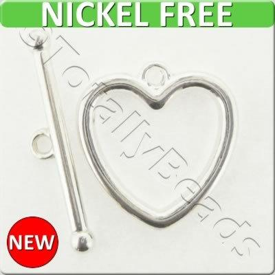 Silver Metal Toggle - Heart 20mm 4 sets - A15256-S