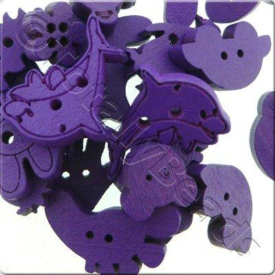 Wooden Button Mixed Shapes - Purple