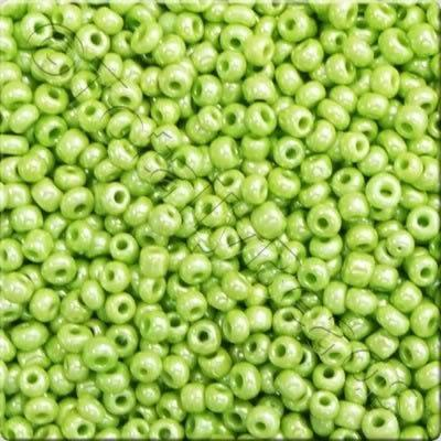 Seed Beads Opaque Luster  Lime Green - Size 6