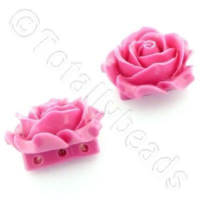 Acrylic Rose 35mm 3 Rows - Pink