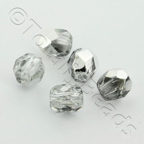 Czech Fire Polished 4mm Faceted - Half Silver - 100pcs