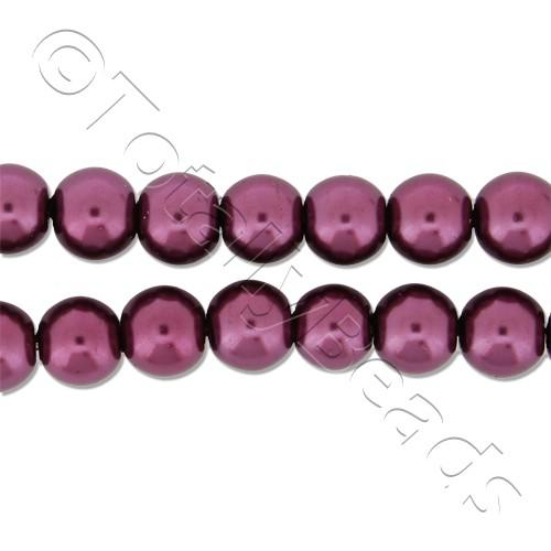 Glass Pearl Round Beads 6mm - Burgundy