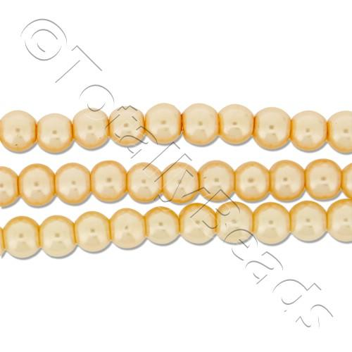 Glass Pearl Round Beads 4mm - Peach