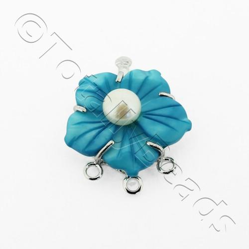 3 Row Connector Box Clasp Flower - Turquoise