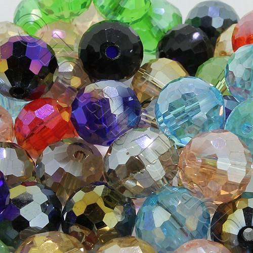 96 Facet Crystal 10mm Round Beads - Mixed 40pcs