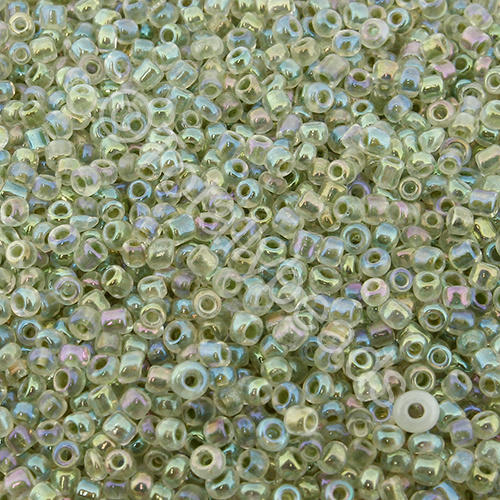 Seed Beads Colour Lined Rainbow  Green - Size 11