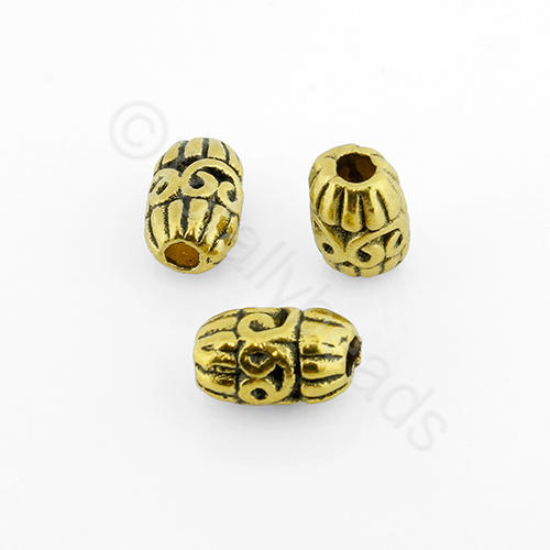 Tibetan Gold Bead - Barrel 10mm