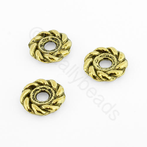 Tibetan Gold Bead - Roped Bead 10mm