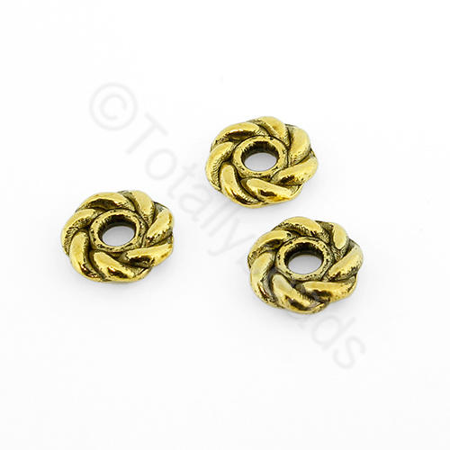 Tibetan Gold Bead - Roped Bead 8mm