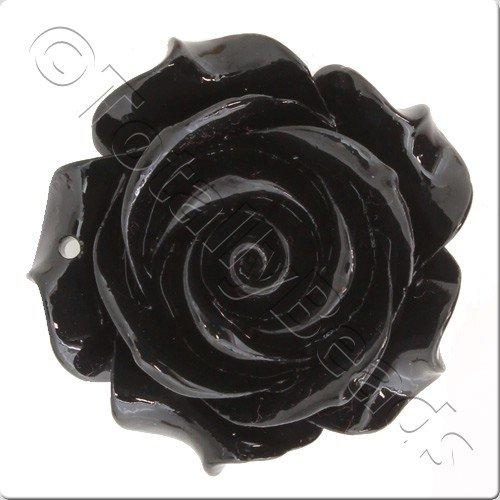 Acrylic Rose 35mm Pendant - Black