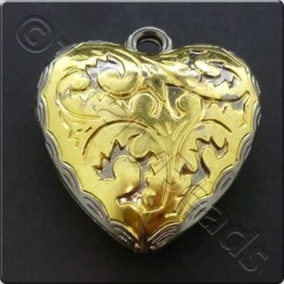 Metalised Gold Heart 42x45x13mm