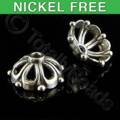 Antique Silver Bead Cap - 14x6mm - 7 Petal